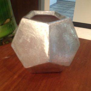 Ceramic Clay Silver Painted Hexagonal Decor Pot